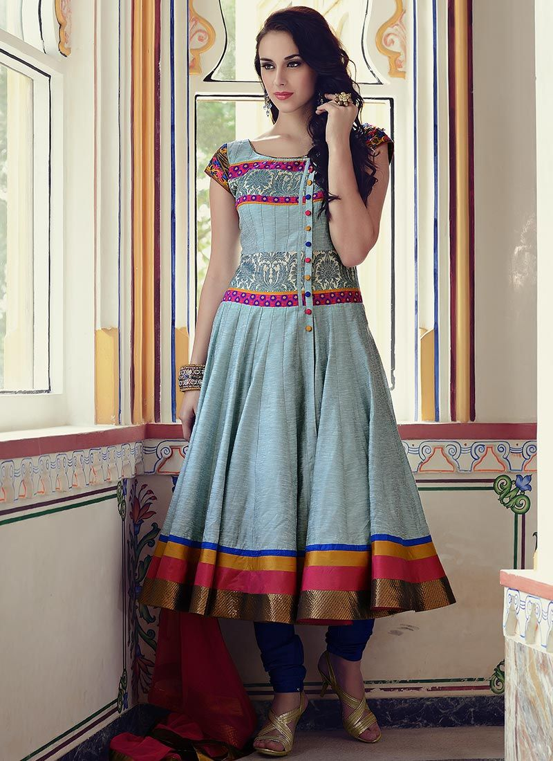 Elegant Silk Cotton Anarkali Suit | creativity in fabrics ...