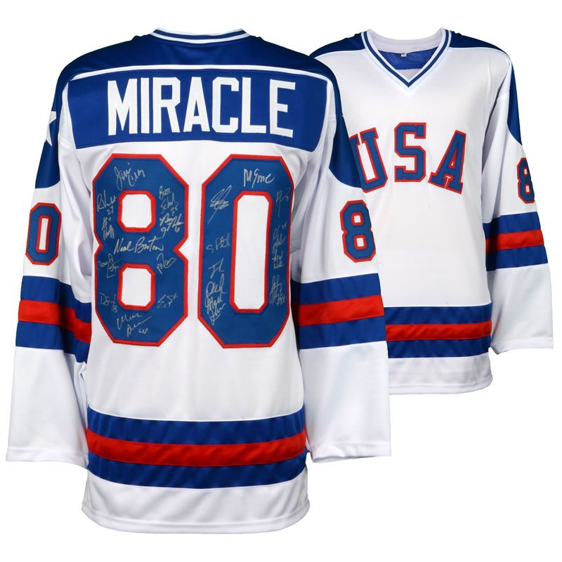 Usa Hockey Fanatics Authentic 1980 U S Hockey Miracle On Ice Autographed Jersey With 19 Signatures Autograph Jersey Usa Hockey Jersey