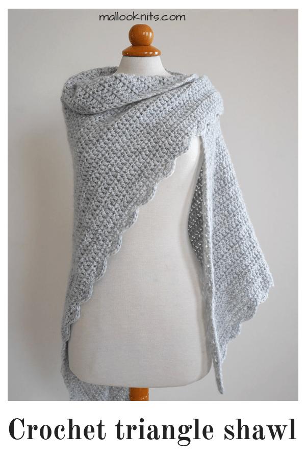 Beginner triangle shawl free crochet pattern | Háčkování