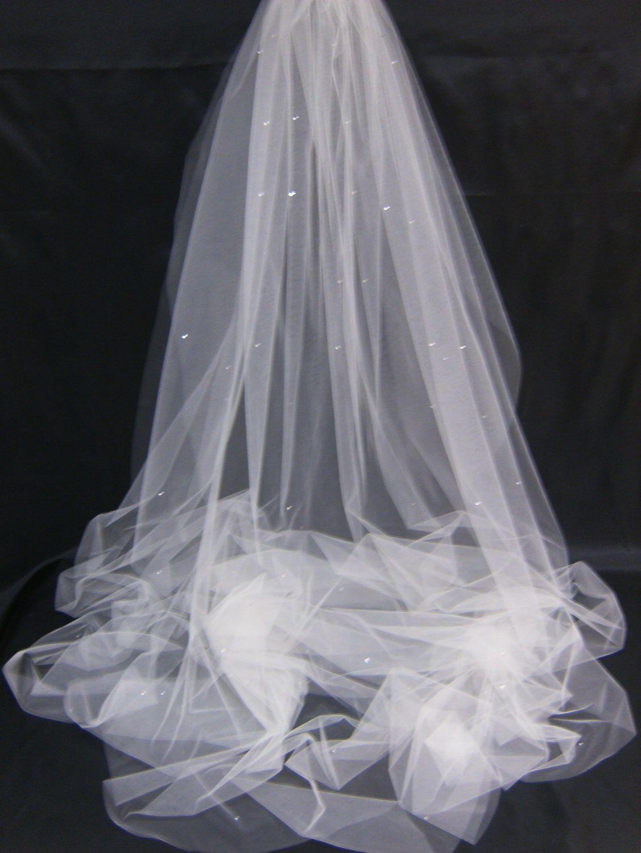 Bridal Veil Swarovski Crystal Rhinestone Sheer 90 Inch Long Chapel Length Wedding With Blusher