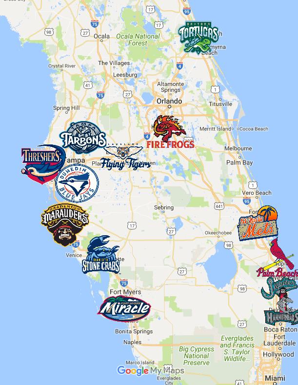 Baseball Team Map : baseball, Florida, State, League, State,, Minor, Baseball,