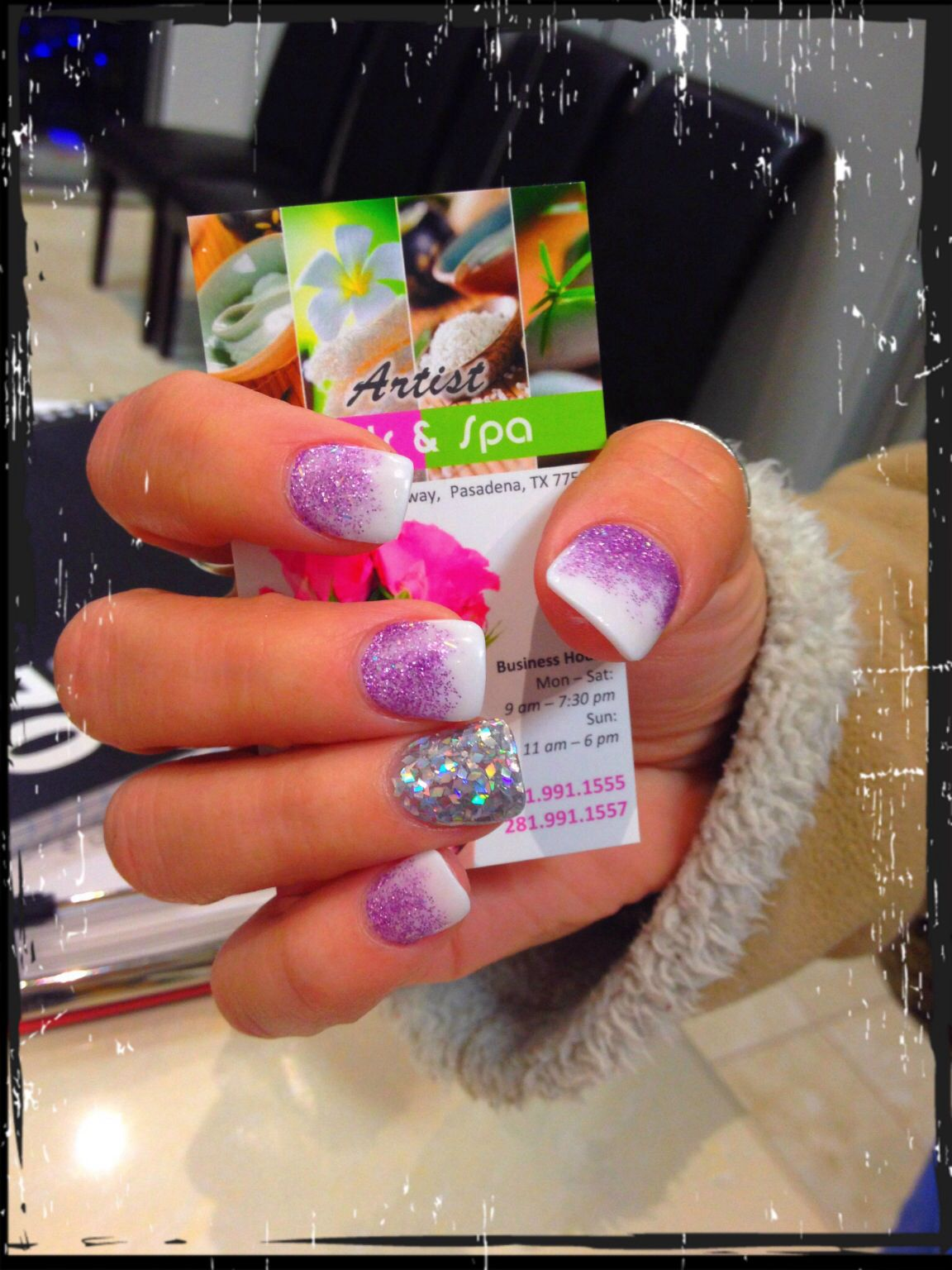 White and purple glitter ombré | ARTIST NAILS AND SPA | Pinterest ...