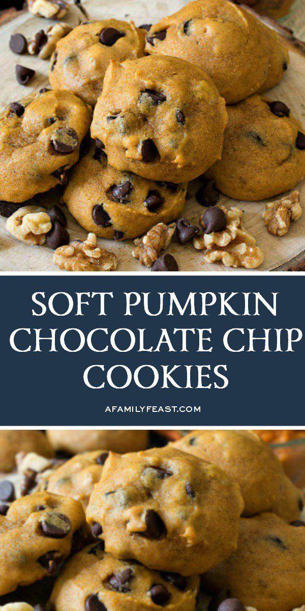 Soft Pumpkin Chocolate Chip Cookies - A Family Fea