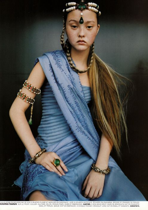 katjaanderson added: Devon Aoki photographed by Ruven Afanador wearing Valentino couture and emeralds by Cartier for Vogue Paris; 'Couture du Monde', September 1999.