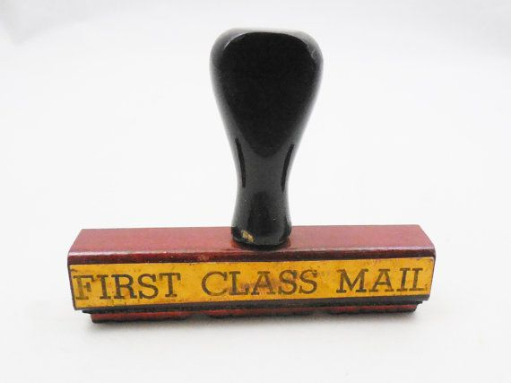 First Class Rubber Stamp Vintage Office Stamp by ShellyisVintage