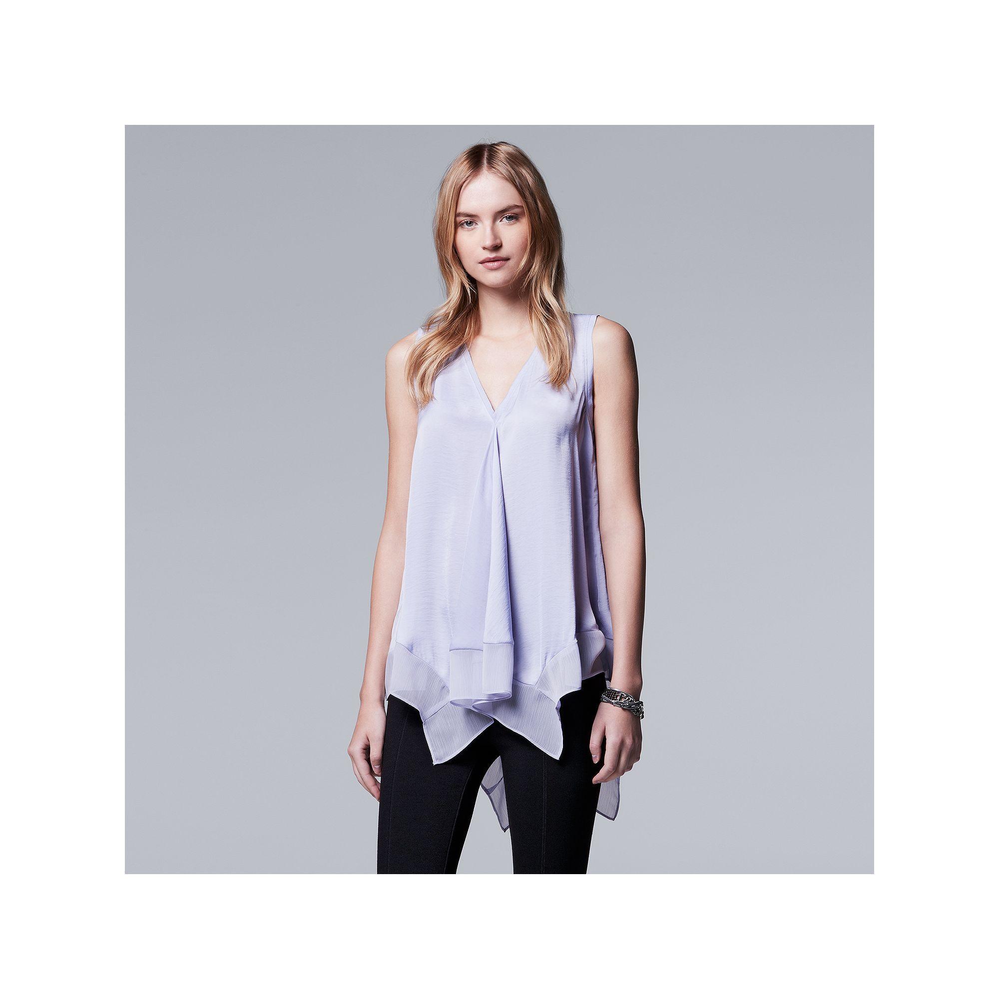 Women's Simply Vera Vera Wang Handkerchief Tank, Size: Medium, Purple
