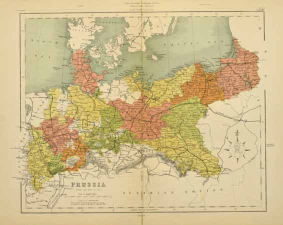 Prussia 1880   Prussia  Genealogy and Ancestry Prussia Map 1880   well done map of prussia this is an original colored map  from