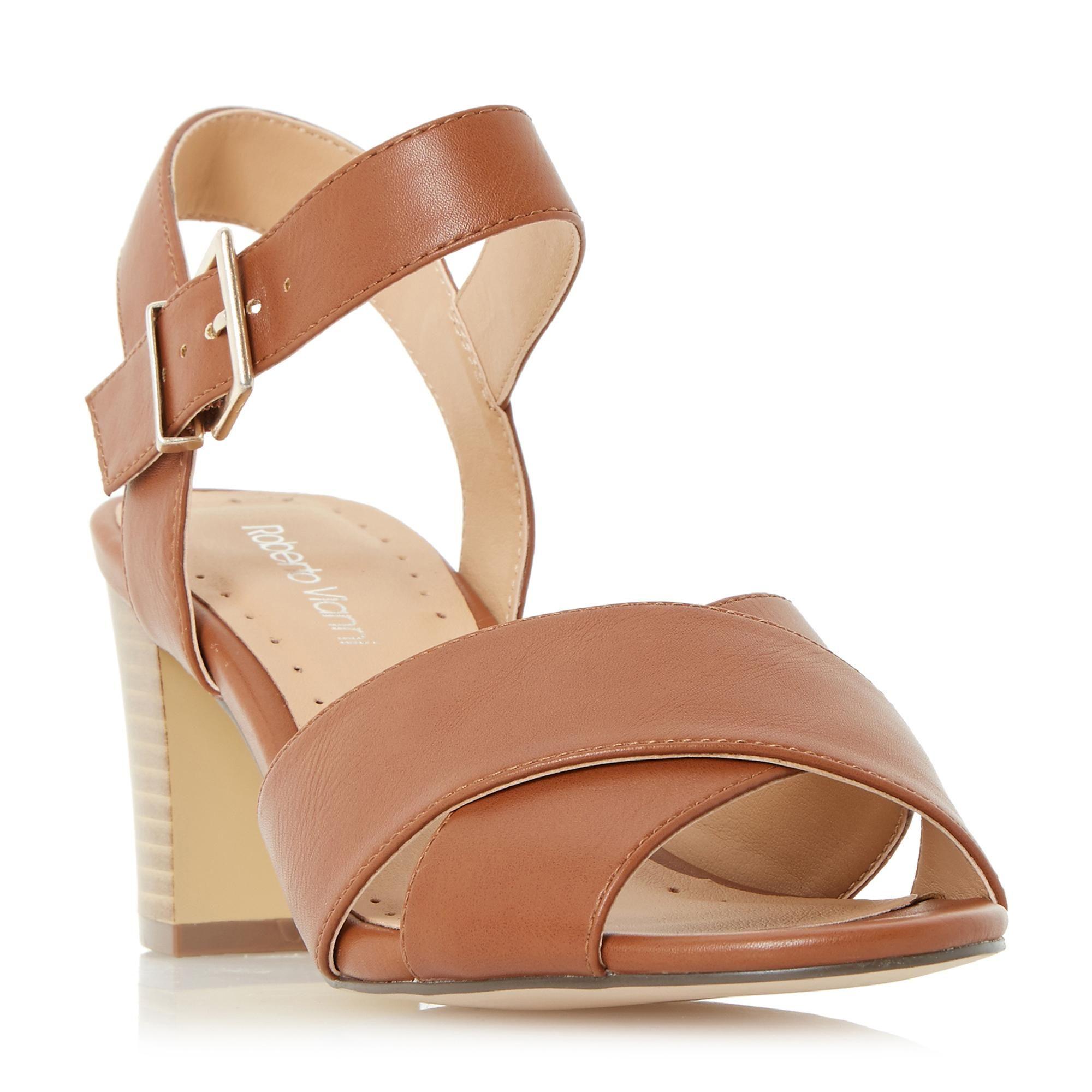 62f031163e4 ROBERTO VIANNI LADIES JERSIE - Cross Strap Mid Heel Sandal - tan ...