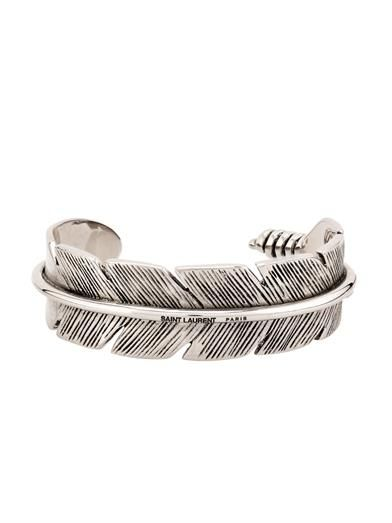 Saint Laurent Feather sterling-silver bracelet