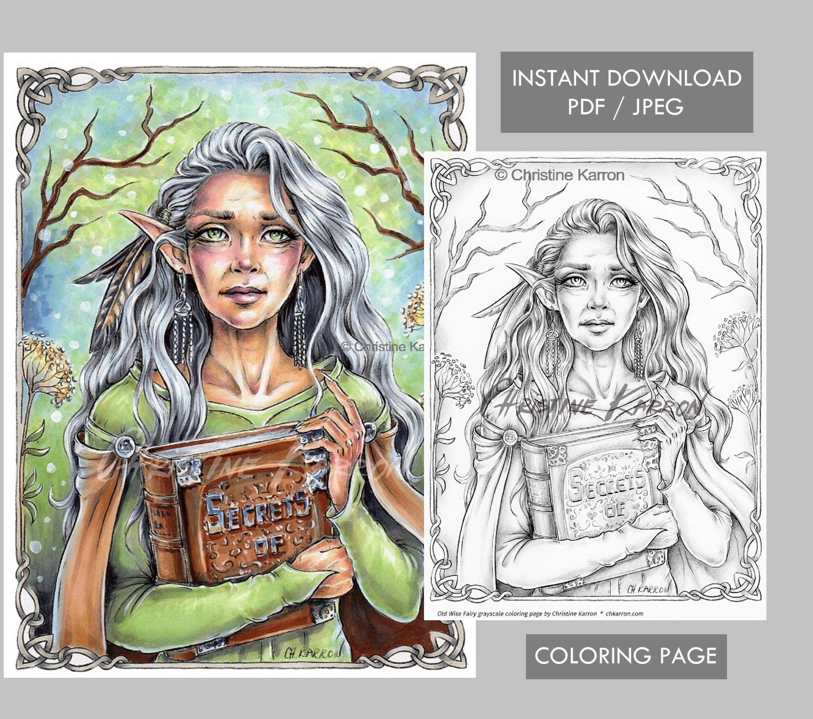 Old Wise Fairy Grayscale Coloring Page Instant Download Printable File Jpeg And Pdf Grayscale Coloring Coloring Pages Grayscale [ 2300 x 2600 Pixel ]