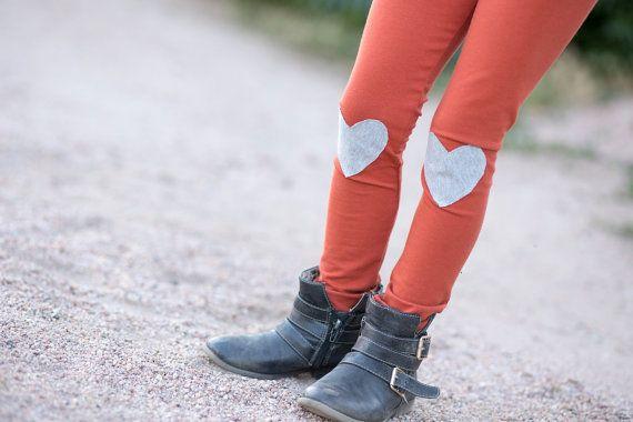 Gray Heart Knee Patch Kids Leggings..Rust Girls Leggings.Baby leggings..Childrens Leggings.Kids & baby..Leggings..Toddler SZ NB to 5T