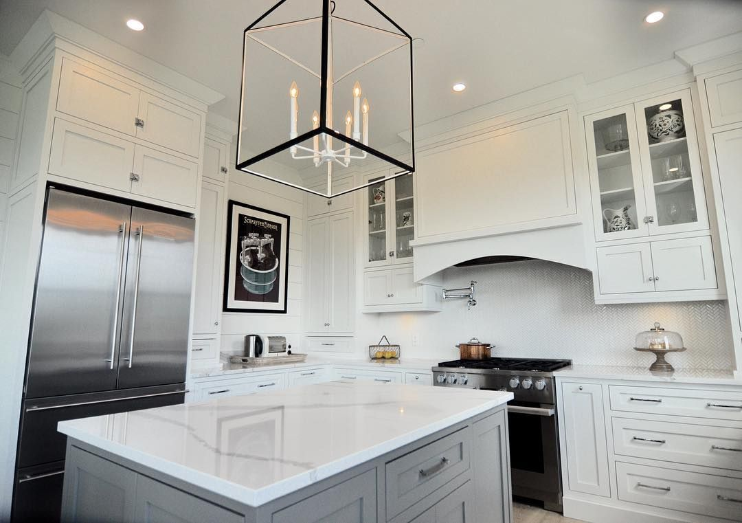 White farmhouse kitchen with face frame cabinetry, shiplap and 10 ...