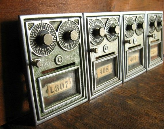 Vintage Post Office Box Door - Double Combination -- $29 -- from  TheFancyLamb on - Vintage Post Office Box Door .. Double Combination Post Office