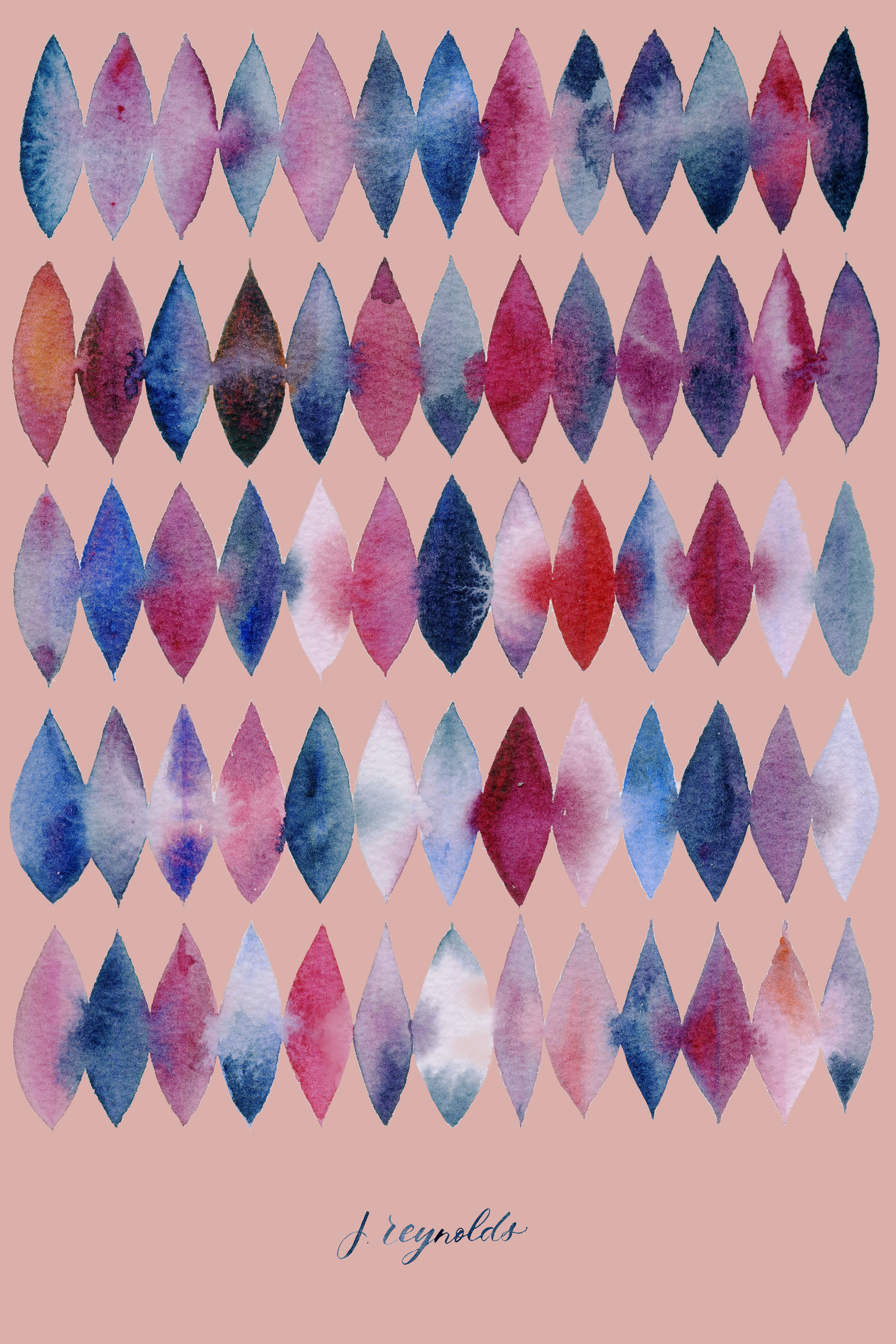 Surface Pattern Showing Wet On Wet Watercolor Technique To Use As
