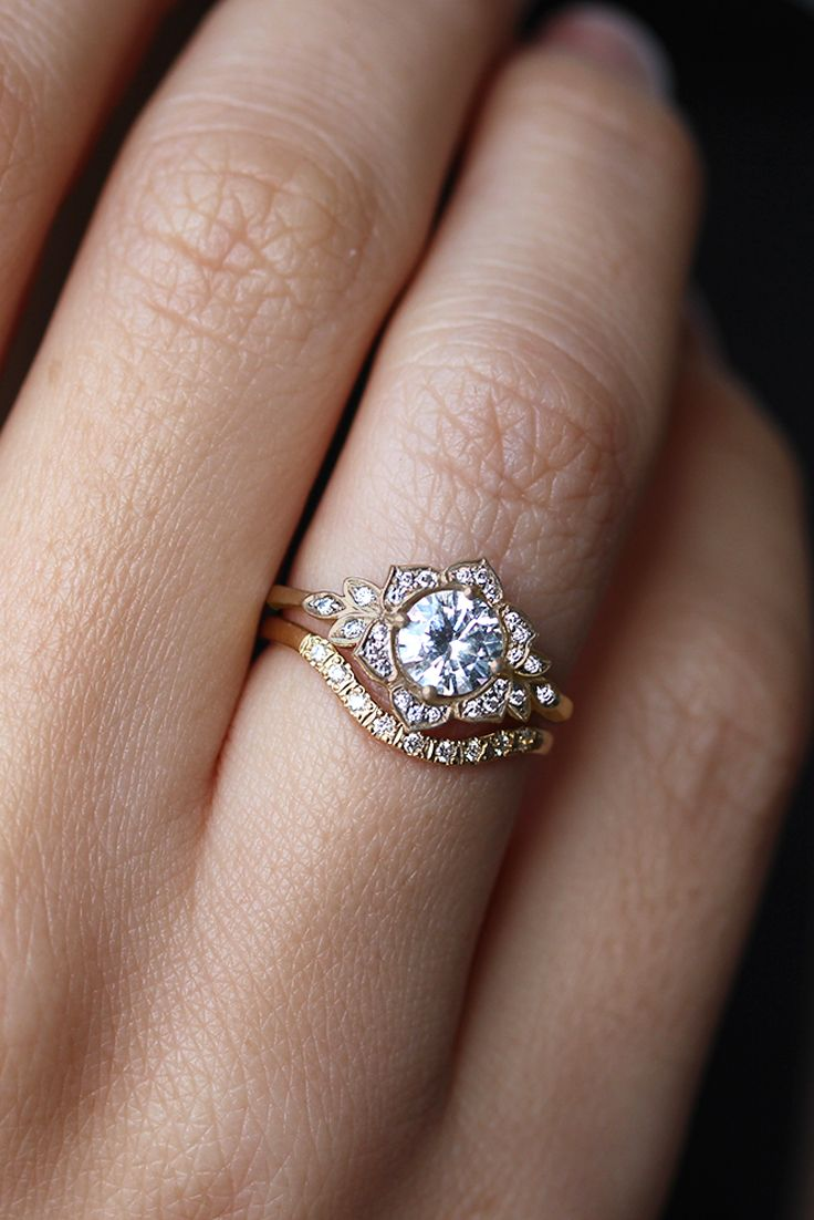 Lilly Flower Unique Diamond Engagement Ring Vintage Engagement