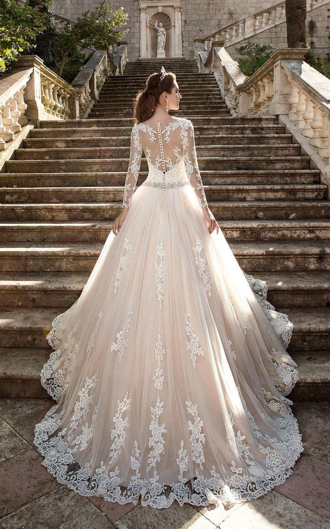 Stunning Long Sleeve Ball Gown Lace Dress 713579 Sheer Wedding Dress Wedding Dresses Cinderella Wedding Dress Long Sleeve [ 1800 x 1125 Pixel ]