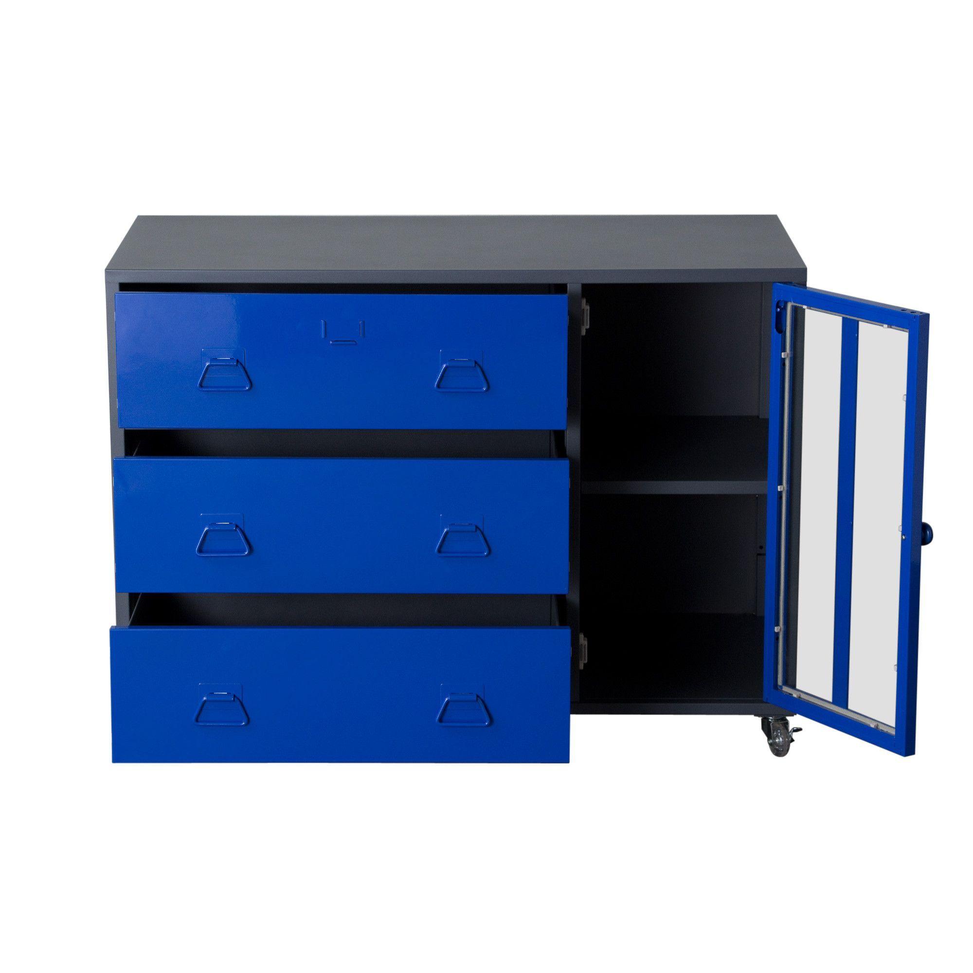 Door drawer castered storage cabinet with tempered glass door