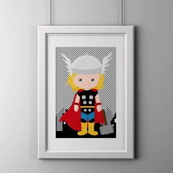Superhero bedroom wall decor prints gray by AmysSimpleDesigns
