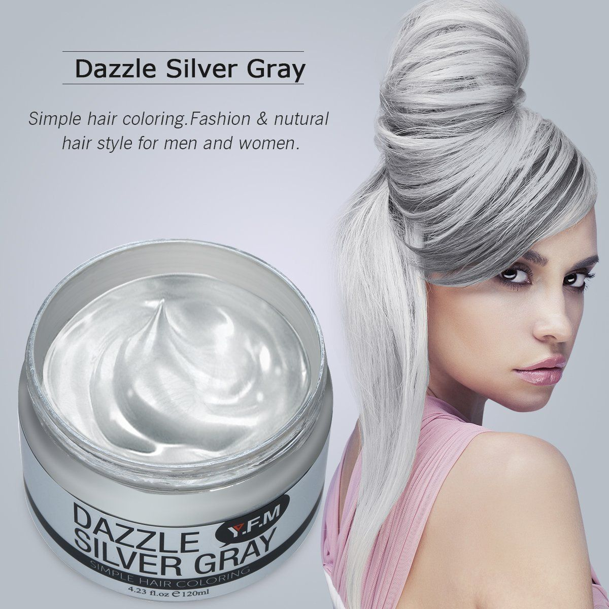 Temporary Silver Grey Hair Color Wax, Y.F.M Men Temporary ...