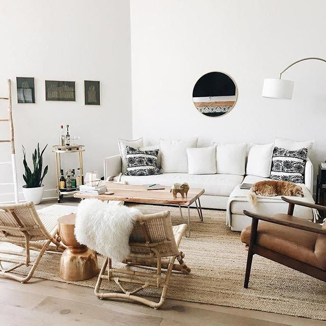 A Mix Of Mid Century Modern Bohemian And Industrial Interior Style Home And Apartm Minimalist Living Room Living Room Scandinavian Living Room Inspiration