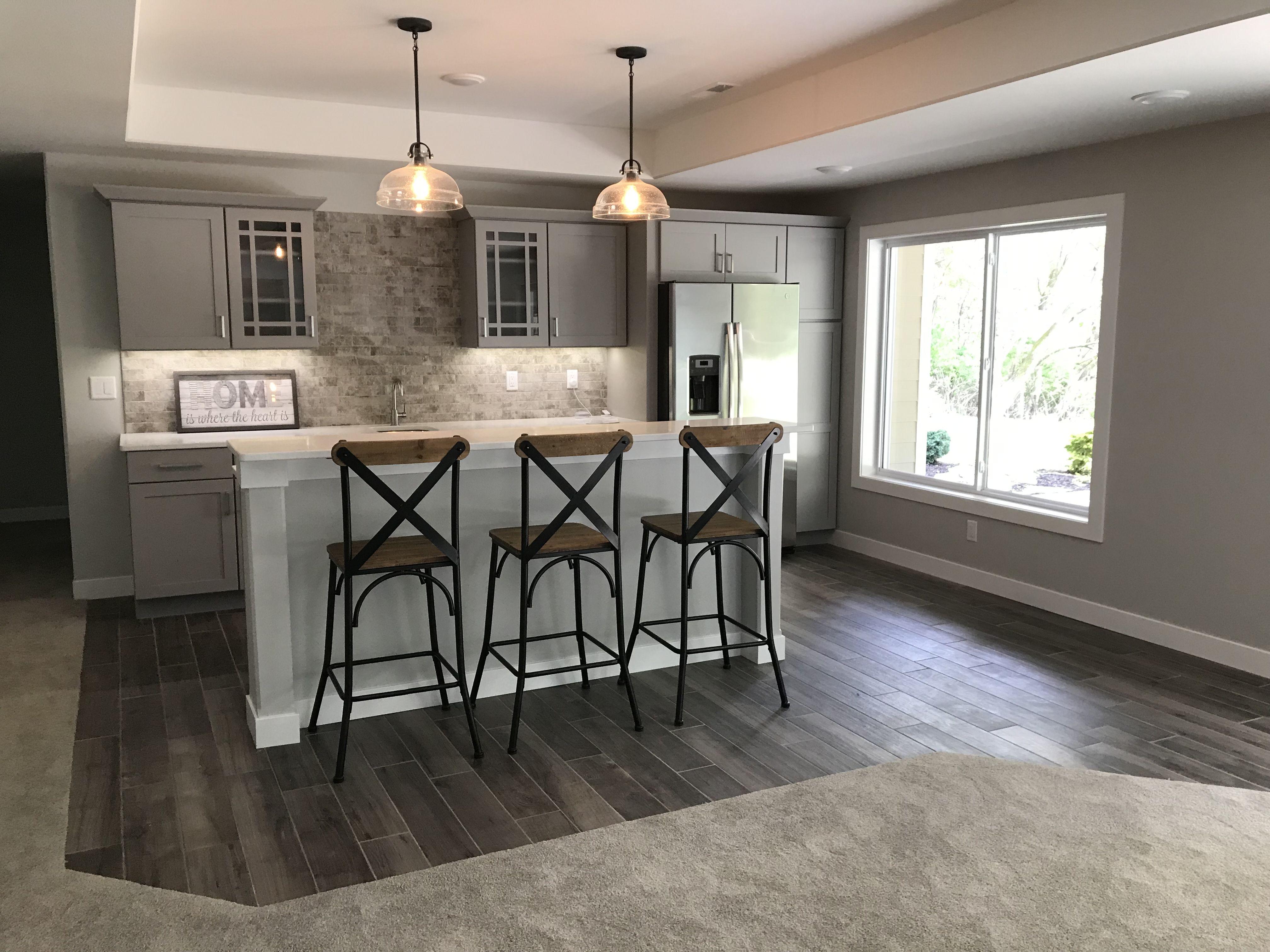 Bar Backsplash In A White Gray Brick Tile Tile Wood Look Tile On
