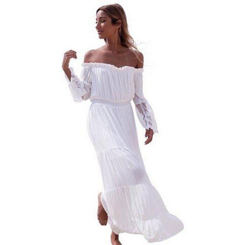 2017 Summer Sexy Lace Sundress Women Boho Long Maxi Dress Bodycon Evening  Party Beach White Dresses  Affiliate d11f80667058