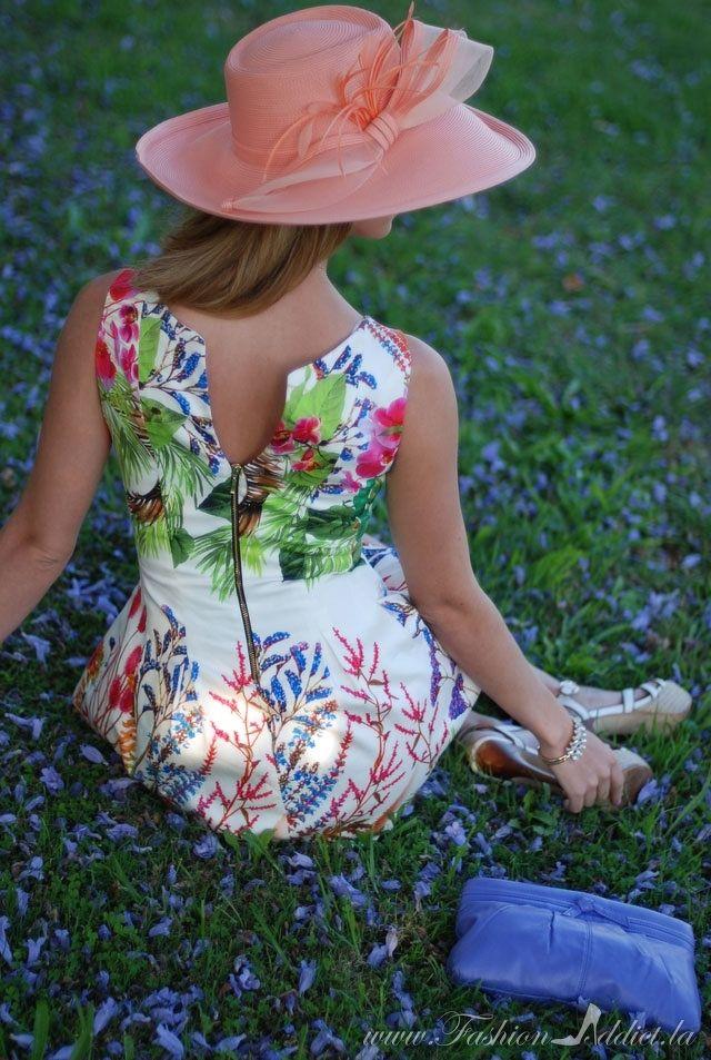 Coral Vintage Hat & Floral Dress from fashionaddict.la