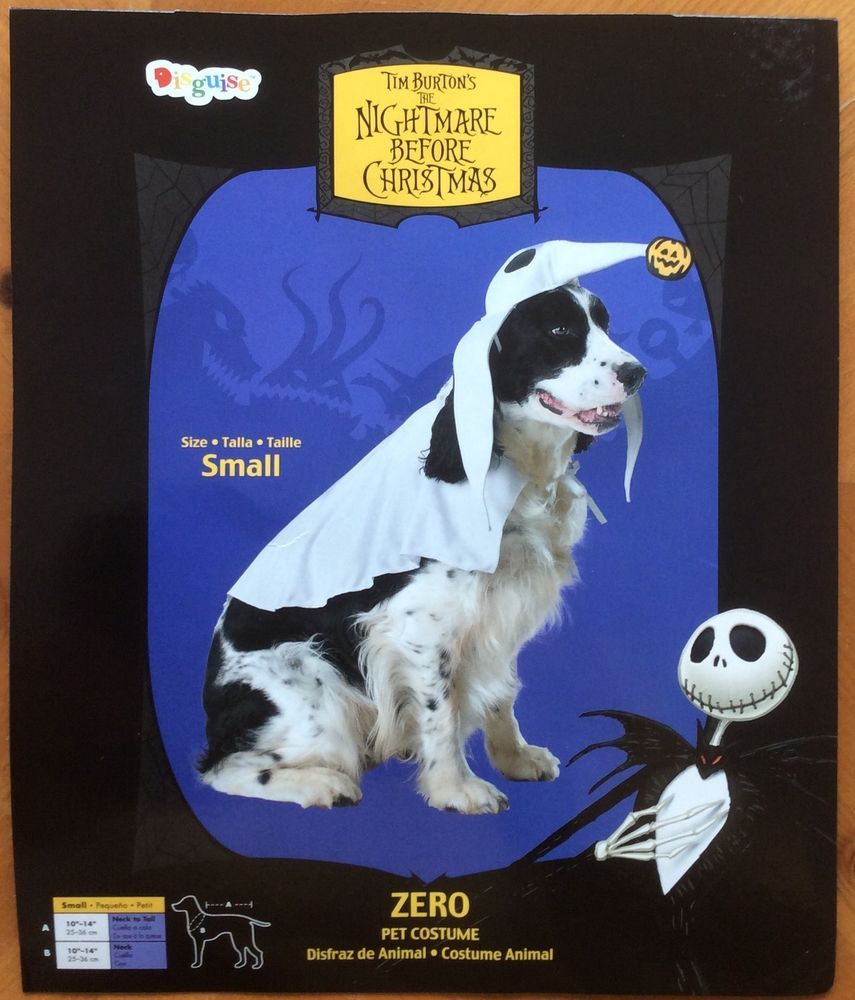 disney nightmare before christmas zero dog pet costume size small nwt