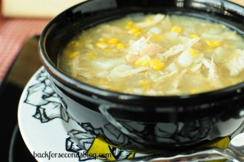 Skinny Crock Pot Chicken and Veggie Chowder by http://backforsecondsblog.com  #crockpot #skinny #diet #soup #chowder #easy #healthy #dinner @BackForSeconds