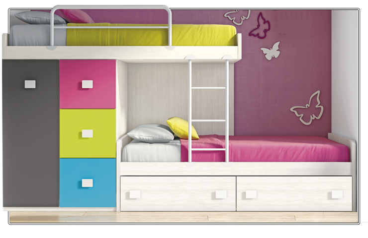 Cama tren de colores para habitaciones infantiles peque as for Closet para habitaciones pequenas