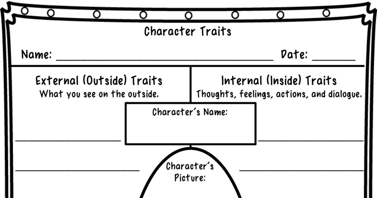 Character Traits Worksheet.pdf | Literature circles, Reading ...