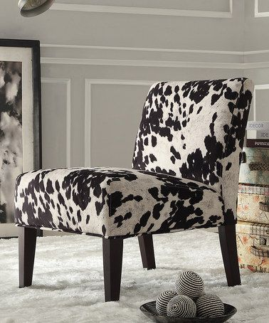 Another great find on #zulily! Black Cowhide Slipper Chair by HomeBelle #zulilyfinds
