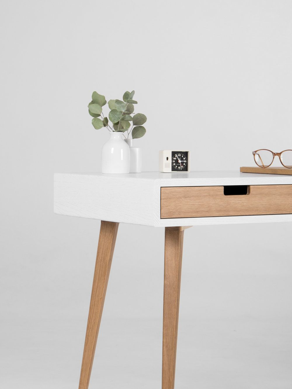 White Wooden Desk With Solid Oak Drawers Mid Century Modern Etsy White Wooden Desk Wooden Desk Simple White Desk