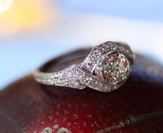 REDUCED Old European cut diamond .95 ct in vintage by GildedLane