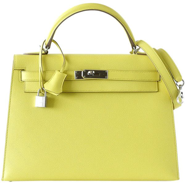 Pre Owned Hermes Kelly 32 Sellier Souffre Epsom Palladium 22 650 Liked On Polyvore Featuring Bags Handbags Borse Souffre Pre Owned Handbags Sho Bolsos
