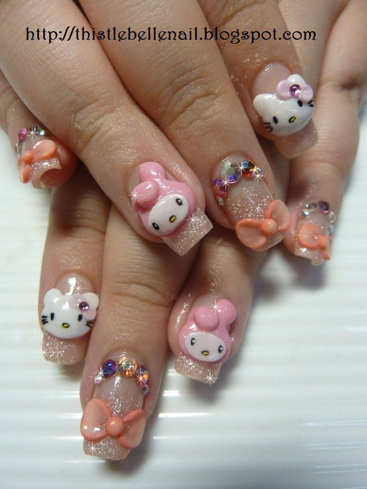 Hello Kitty 3d Nail Art I Love Hello Kitty 3 Pinterest