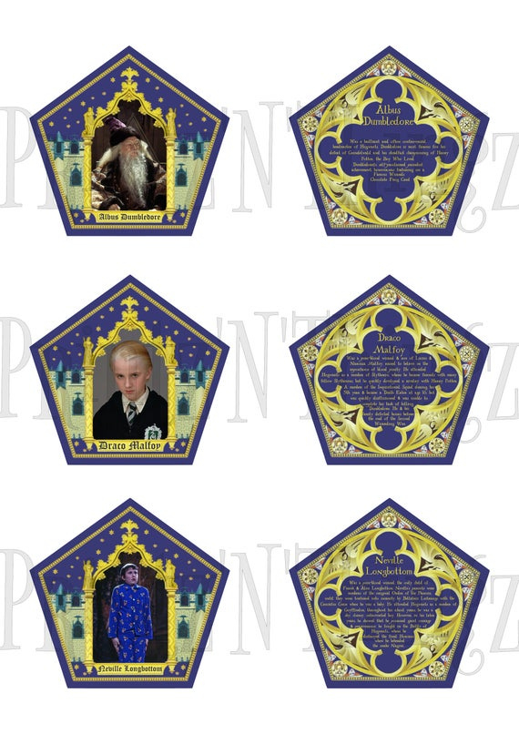 Harry Potter Style Chocolate Frog Box Trading Cards Instant Download Pdf Throughout Chocolate Frog Card Harry Potter Style Chocolate Frog Harry Potter Etsy