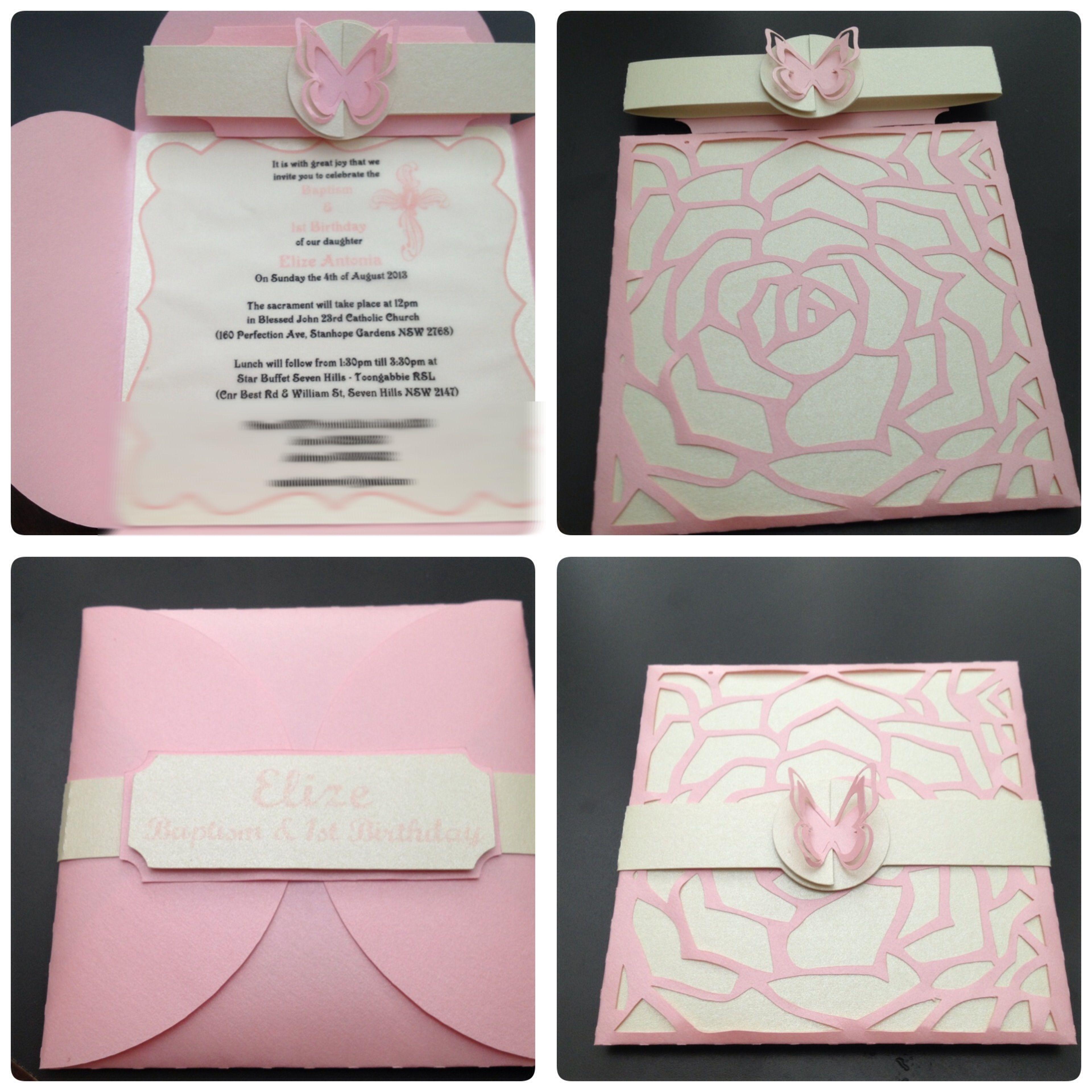 Rose/butterfly themed handmade christening invitation pink