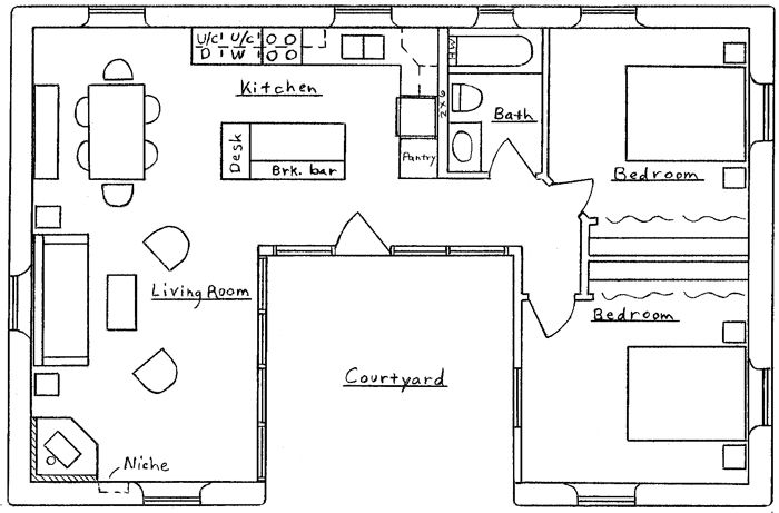 U Shaped Floor Plans | Shaped Home With Unique Floor Plan (HWBDO64049) | New