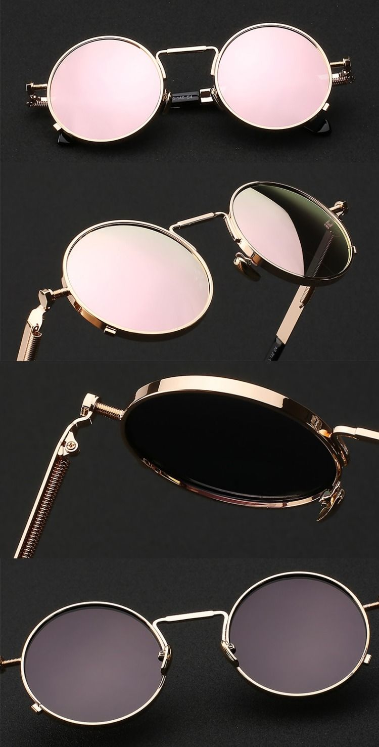 Silver Vintage Retro Steampunk Gothic Side Shield Round Sunglasses FREE POUCH a