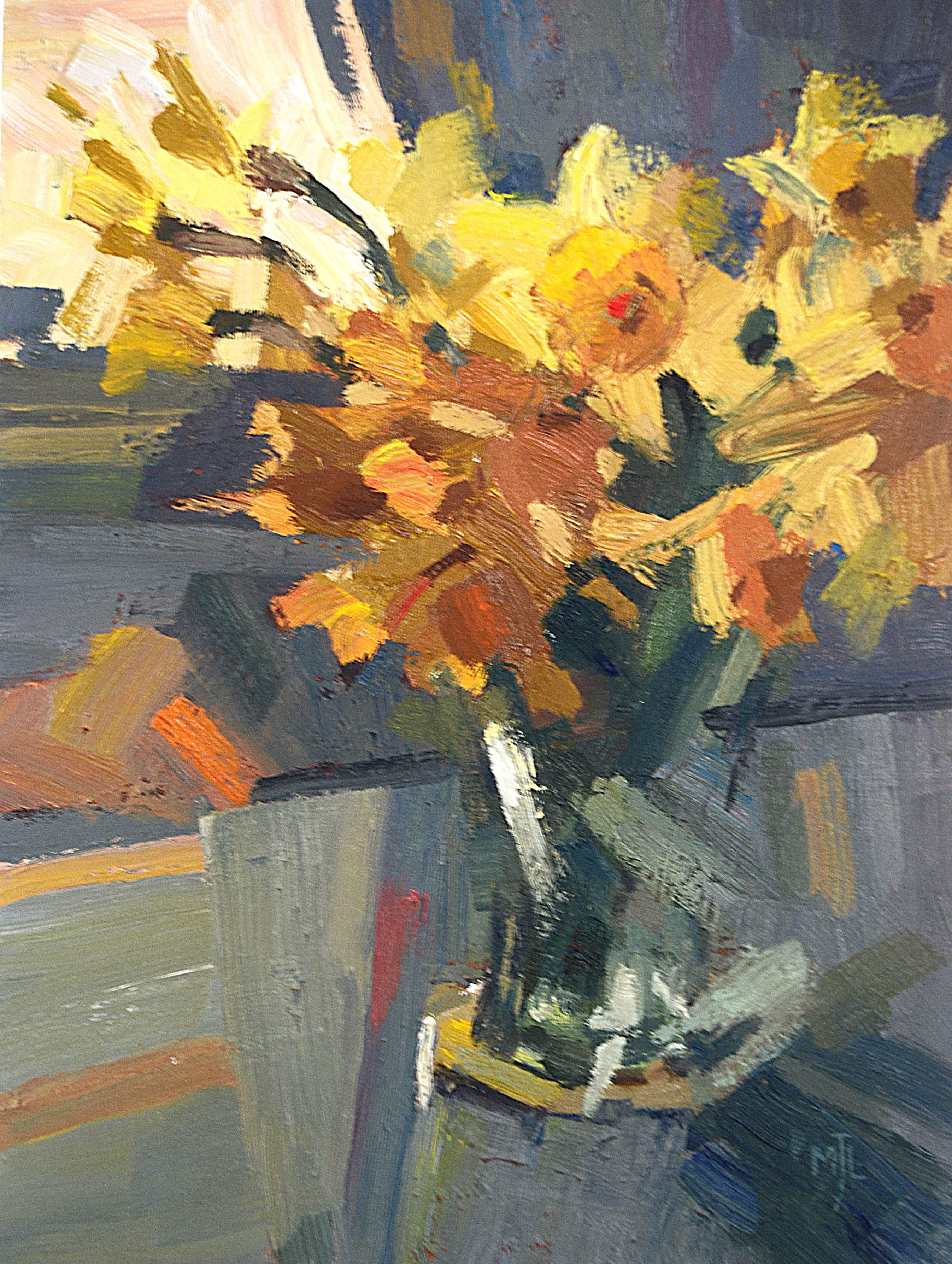 Daffodils on the Table, Oil on canvas, 40x30cm, 16x12in