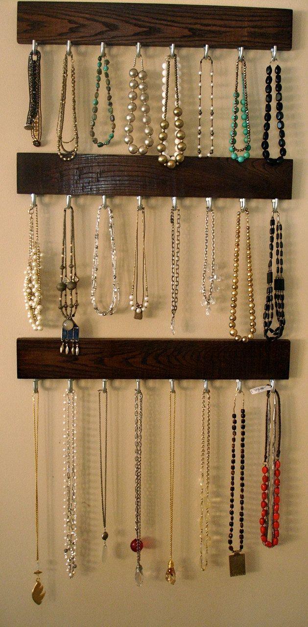 Hanging Jewelry Organizer Coat Rack 24 Solid Oak with nickel
