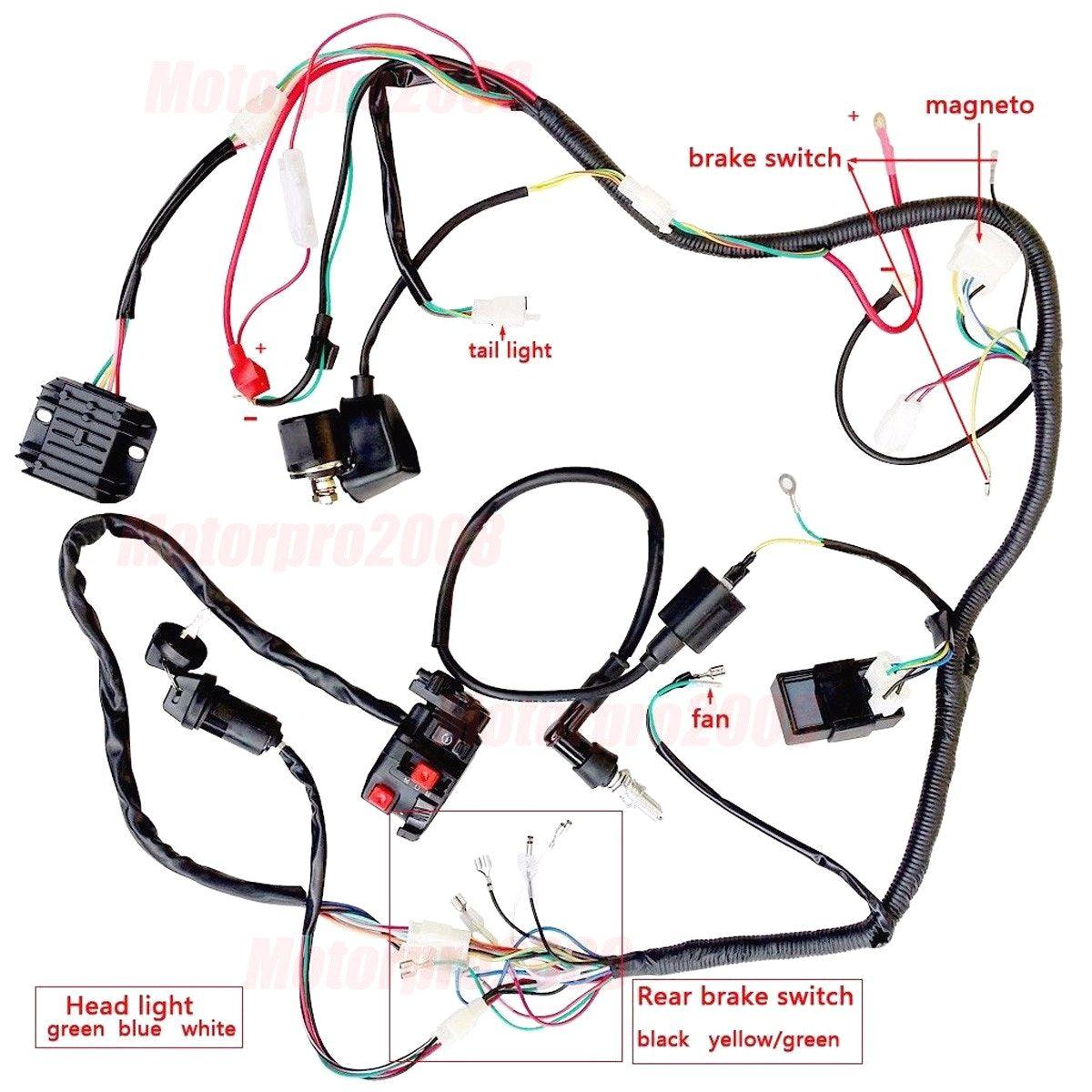 complete electrics atv quad 200 250cc wiring harness cdi zongshen beauteous lifan wiring [ 1200 x 1200 Pixel ]