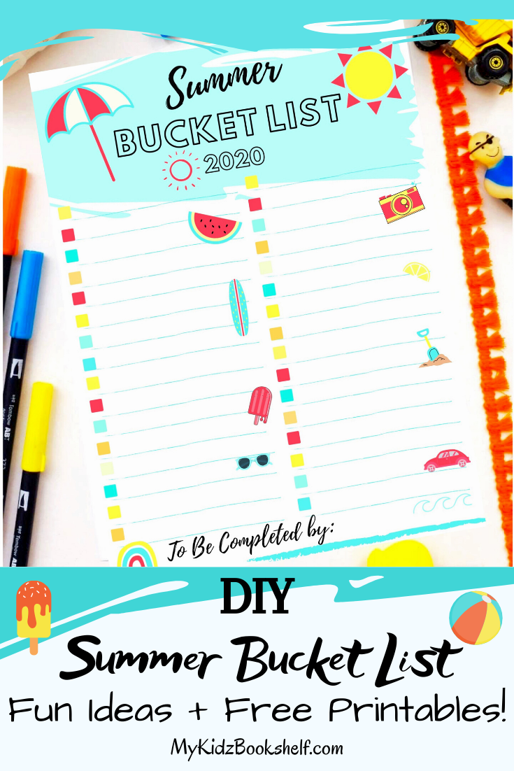 DIY The Best Summer Bucket List + Fun, Free Printables! Make your own super fun Bucket List to keep all the things you want to do this Summer Vacation in one fun spot! Visit the blog now for great Bucket List ideas + best Summer Bucket List Printables! #familyfuncraft#summervacation#kidslist#summercraft#kidsbucketlistprintable#bucketlist#kidsart#easycrafts#summercraft#freekidsprintables#homelearning#summerbucketlist #freeprintable#printables#kidsprintables#summerprintable#freebucketlistprintable