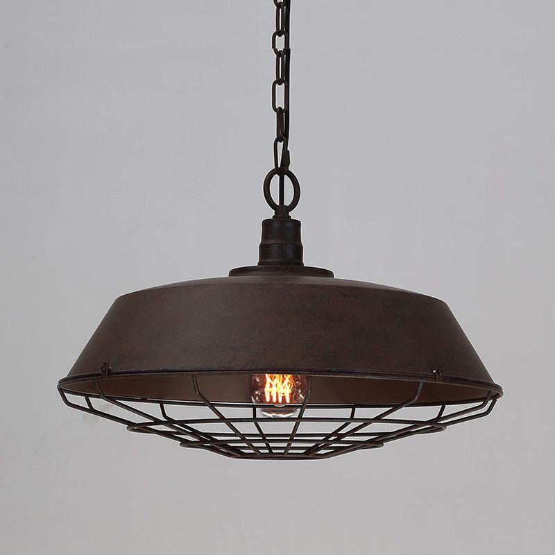 Industrial Pendant Light Ideas: Vintage Industrial Pendant Light With Cage Covering