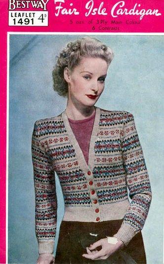 PDF Knitting Pattern for a 1940's Fair Isle Cardigan.. £2.50, via ...