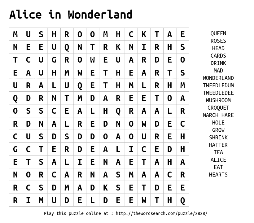 Download Word Search On Alice In Wonderland Word Find Alice In Wonderland Kids Word Search