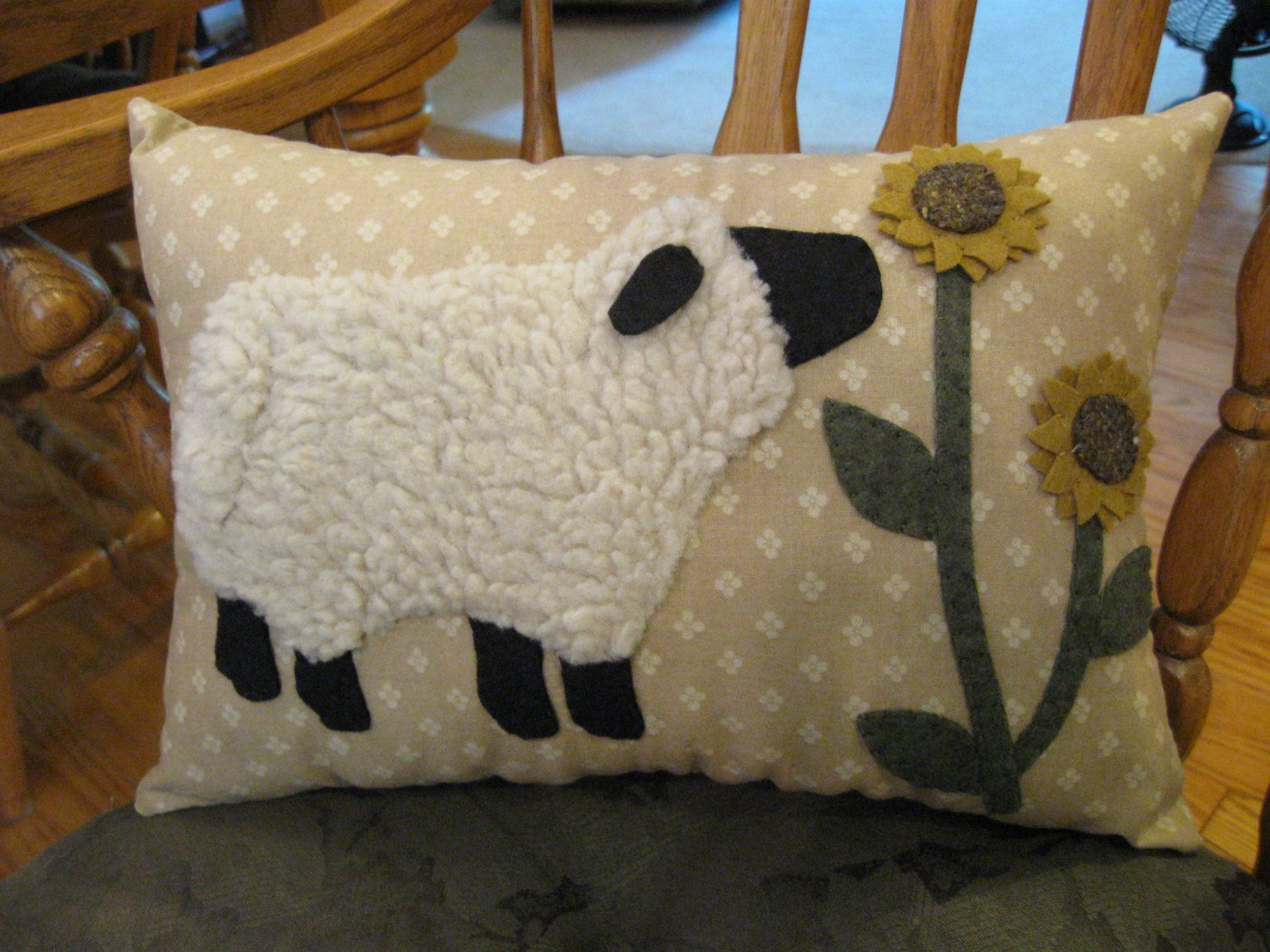 Penny Rug Sheep Pillow...Wooly Lamb Smelling by Justplainfolk ...