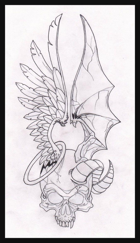 Two Face Angel Demon By Maplr20 Deviantart Com On Deviantart Demon Drawings Skulls Drawing Tattoo Art Drawings