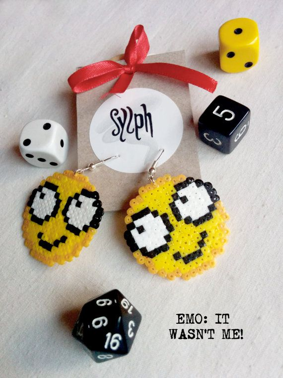 "Pixelated funny ""It wasn't me"" emoticon earrings in 8bit retro style made of Hama Mini Perler beads by SylphDesigns"